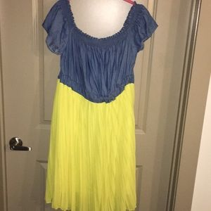Dresses & Skirts - Denim and yellow dress